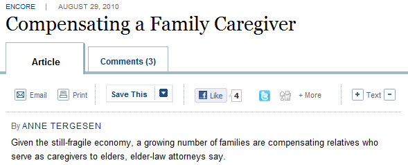 compensating a family carvgiver WSJ