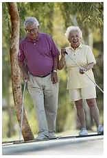 Elderly people walking
