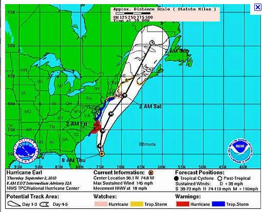Hurricane Earl Projected Path