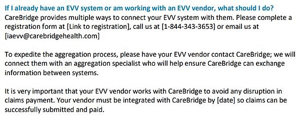 Iowa alternate EVV statement