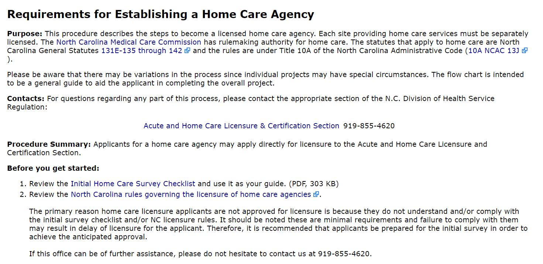 North Carolina Home Care