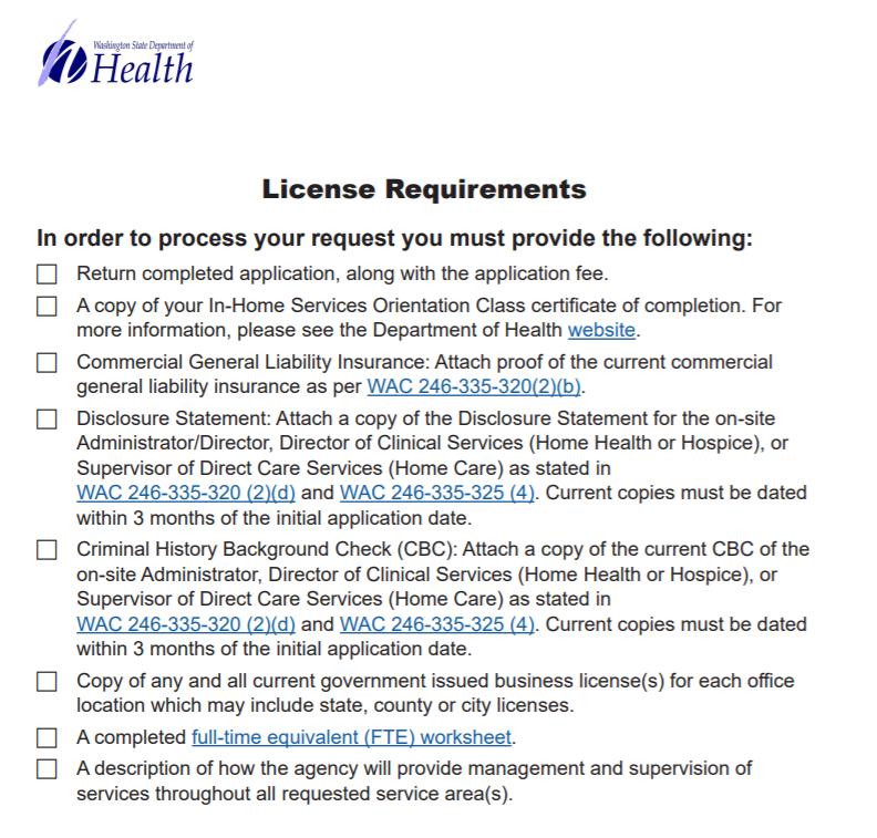 Washington License Home Care