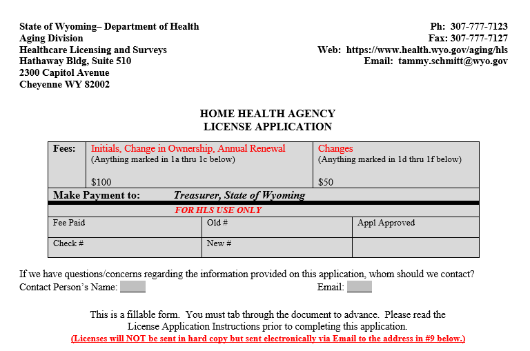 Wyoming Home Health Licensure